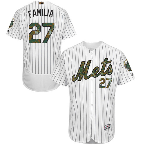 New York Mets Jeurys Familia Men's Authentic White 2016 Memorial Day Fashion Flex Base Jersey