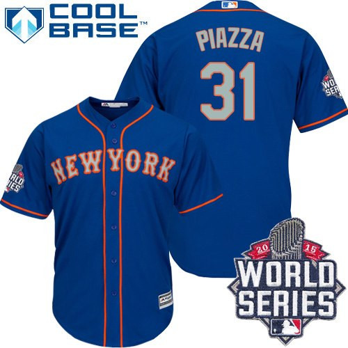 New York Mets Mike Piazza Men's Royal Blue Alternate Road Cool Base 2015 World Series Jersey