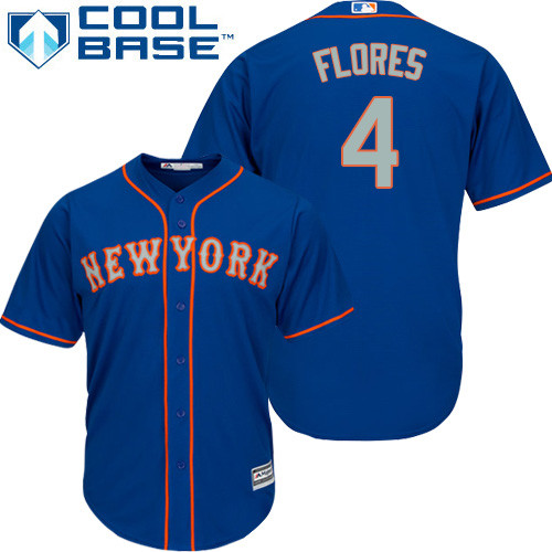 New York Mets Wilmer Flores Youth Authentic Royal Blue Alternate Road Cool Base Jersey